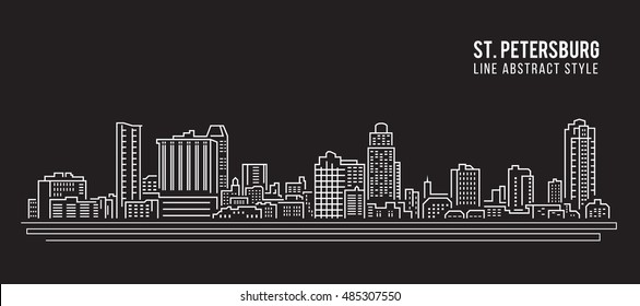 Cityscape Building Line art Vector Illustration design - Saint Petersburg city