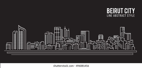 Cityscape Building Line art Vector Illustration design - Beirut city