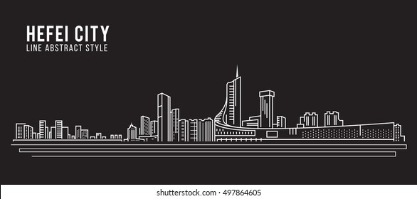 Cityscape Building Line art Vector Illustration design - Hefei city