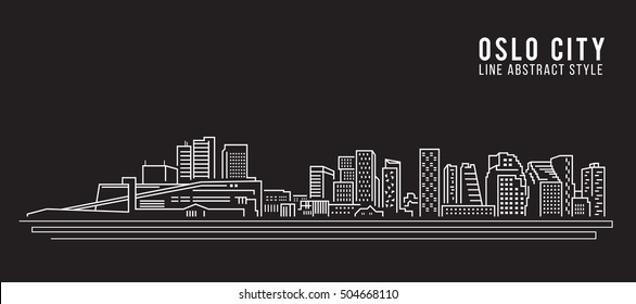 Cityscape Building Line art Vector Illustration design - Oslo city