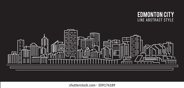 Cityscape Building Line art Vector Illustration design - Edmonton city
