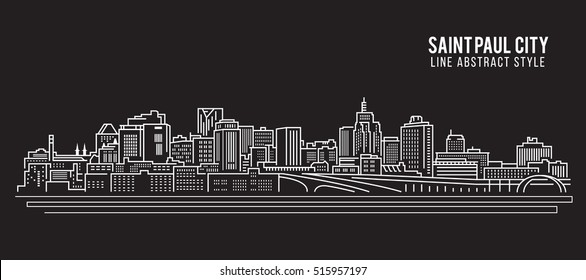 Cityscape Building Line art Vector Illustration design - Saint Paul city