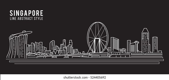 Cityscape Building Line art Vector Illustration design - Singapore city