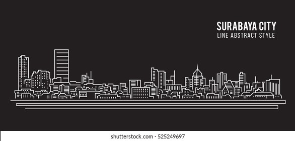Cityscape Building Line art Vector Illustration design - Surabaya city