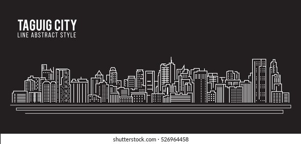 Cityscape Building Line art Vector Illustration design - Taguig City
