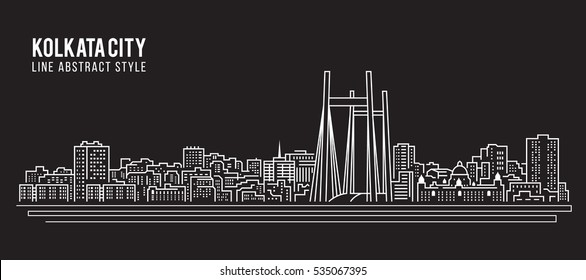 Cityscape Building Line art Vector Illustration design - Kolkata City