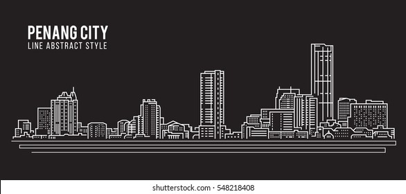 Cityscape Building Line art Vector Illustration design - Penang city