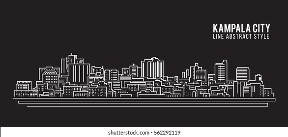 Cityscape Building Line art Vector Illustration design - Kampala city