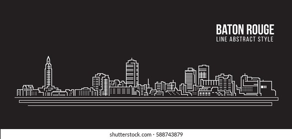 Cityscape Building Line art Vector Illustration design - Baton Rouge city