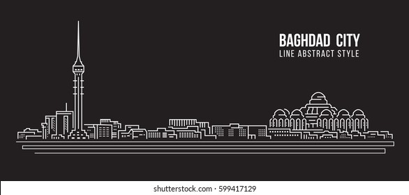 Cityscape Building Line art Vector Illustration design - Baghdad city