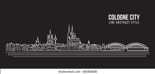 Cityscape Building Line art Vector Illustration design - Cologne city