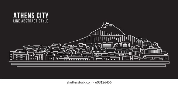 Cityscape Building Line art Vector Illustration design - Athens city