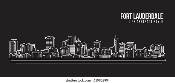 Cityscape Building Line art Vector Illustration design - Fort Lauderdale city
