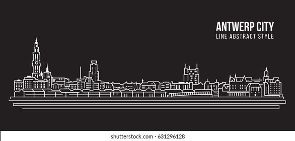 Cityscape Building Line art Vector Illustration design - Antwerp city