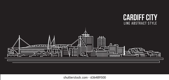 Cityscape Building Line art Vector Illustration design - Cardiff city