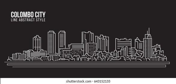 Cityscape Building Line art Vector Illustration design - colombo city