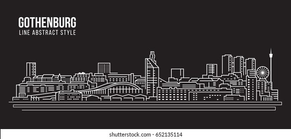 Cityscape Building Line art Vector Illustration design - Gothenburg city