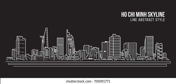 Cityscape Building Line art Vector Illustration design - Ho Chi Minh city