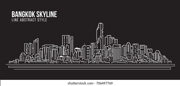 Cityscape Building Line art Vector Illustration design - Bangkok city skyline