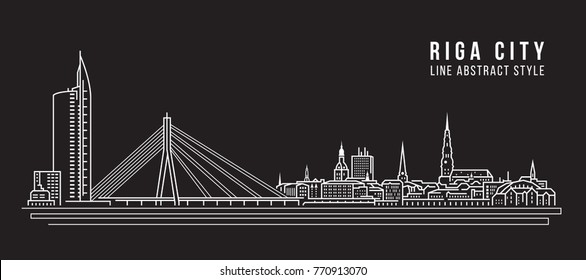 Cityscape Building Line art Vector Illustration design - Riga city