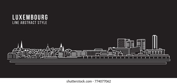 Cityscape Building Line art Vector Illustration design - Luxembourg city