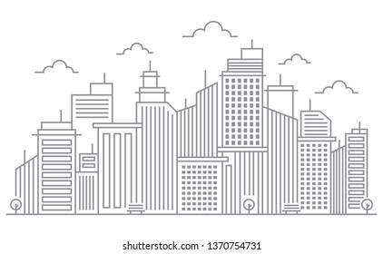 Cityscape Building Line Vector Illustration
