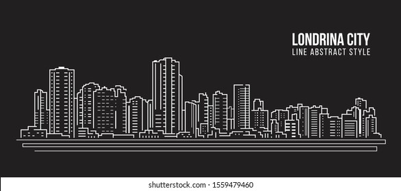 Cityscape Building panorama Line art Vector Illustration design - Londrina city