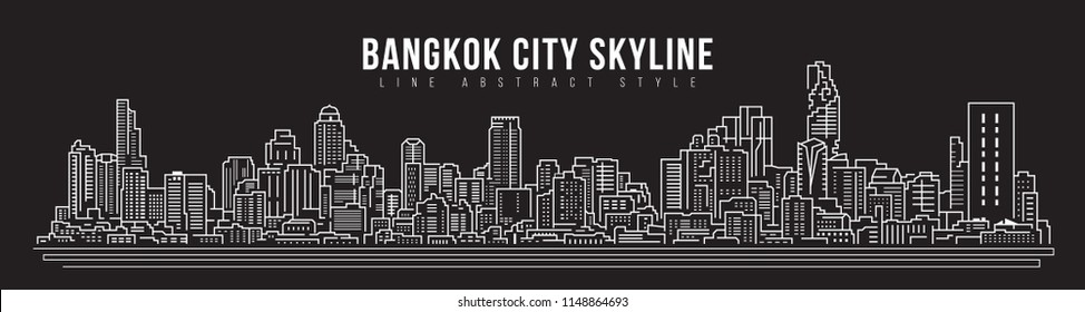 Cityscape Building skyline panorama Line art Illustration design - Bangkok city