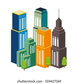cityscape buildings skyline icon