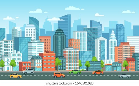Cityscape with cars. City street with road, town buildings and urban car cartoon vector illustration. Panoramic view with automobiles riding against modern downtown skyscrapers on background.