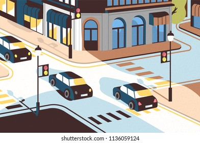 Cityscape with cars driving along road, beautiful buildings, crossroad with traffic lights and pedestrian crossings or crosswalks. View of city street, urban landscape. Modern vector illustration.