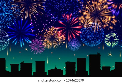 Cityscape with celebration fireworks banner vector illustration. Festive lights display over town buildings at night scene for holiday background design. Horizontally repeatable.
