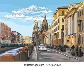 Cityscape of Church of the Savior on Blood in Saint Petersburg, Russia and embankment of river. Colorful vector hand drawing illustration.