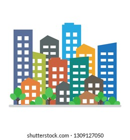 Cityscape. City modern buildings, housing district, town homes. Vector illustration