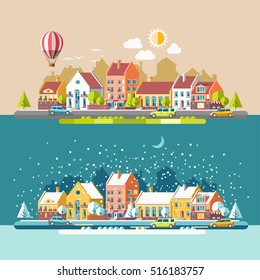 Cityscape. The city in winter and summer. Urban landscape. Vector flat illustration.