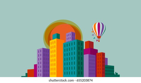 Cityscape with colorful buildings, balloon and sun, eps10 vector