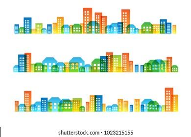 Cityscape colorful decorations. Horizontal borders