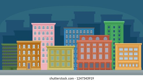 Cityscape with colorful residential and public buildings, urban panorama vector Illustration