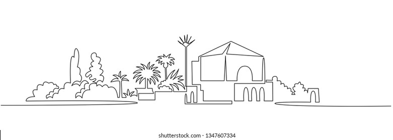 Cityscape continuous one line vector drawing. Resort city architecture panoramic landscape. Palm trees hand drawn silhouette clipart. Menara garden. Villa house illustration. Mediterranean town