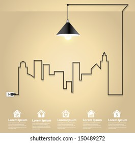 Cityscape with creative wire light bulb idea concept, Abstract modern design template workflow layout, diagram, step up options, Vector illustration template design