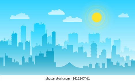 Cityscape day landscape with buildings skyline vector flat. City life illustration