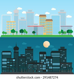 cityscape daytime and nighttime, infographics background and elements. Can be used for   statistic , business data, web design, info chart, brochure template. vector illustration