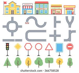 Cityscape design element, road, buildings, trees. Vector illustration for your web site, print design, infographics