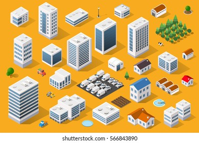 Cityscape design elements with isometric building city map generator. 3D flat icon set. Isolated collection  for creating your perfect road, park, transport, trees, infrastructure
