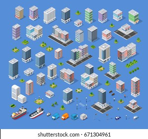 Cityscape design elements with isometric building city map kit, flat icon set. Isolated collection objects for creating your perfect road, park, transport, trees, infrastructure