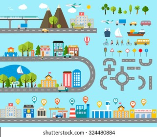 Cityscape design elements with navigation pins, road, park, transport, people, buildings, trees set. May be used for web site, brochure design, infographics template, chart, vector illustration