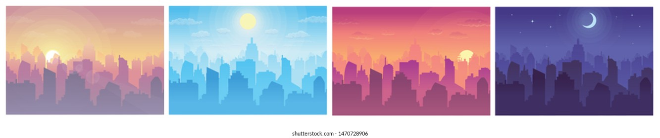 Cityscape at different times. Daytime vector cityscape in flat style. Morning, noon, sunset and night stars at city cityscape.
