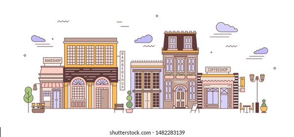 Cityscape with district of exquisite elegant residential buildings of European architecture. Urban landscape with living houses, bakeshop, coffeeshop. Colorful vector illustration in line art style.