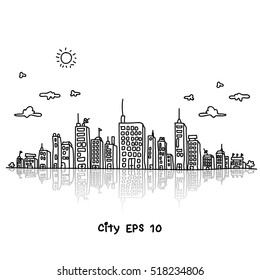 Cityscape doodles Vector Illustration Line Sketched Up isolated backgrounds