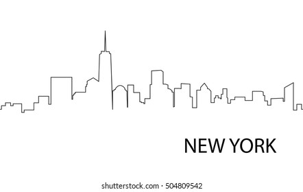 Cityscape downtown New York. Background modern city in a line style. Vector illustration. Seamless horizontal pattern